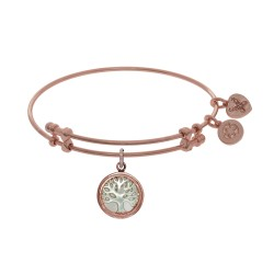 Brass with Pink Tree Of Life On Created Mop Round Charm On Pink Angelica Bangle