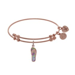 Brass with Pink Flip Flop Charm with Created Opal On Pink Angelica Bangle
