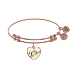 Brass with Godmother Heart Shaped Charm with Created Mop On Pink Angelica Bangle