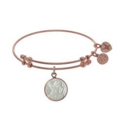 Brass with Pink Round Angel Charm with Created Mop On Pink Angelica Bangle