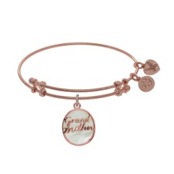 Brass with Pink Oval Grand Mother Charm with Created Mop On Pink Angelica Bangle