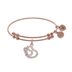 Brass with Pink Double Heart Charm with White Cz On Pink Bangle