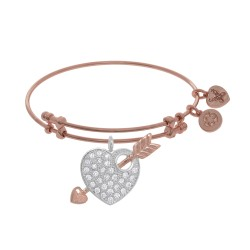 Brass with Pink Finish Charm On Pink Angelica Bangle