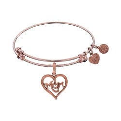 Brass with Pink Finish M-Heart-M Charm for Angelica Bangle