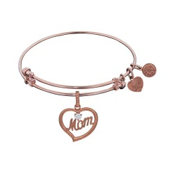 Brass with Pink Finish Mom in Heart with Clear Cubic Zirconia Charm for Angelica Bangle
