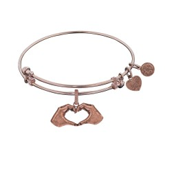 Brass with Pink Finish Heart Made with Hands Charm for Angelica Bangle