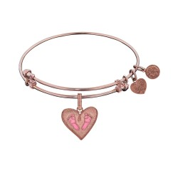 Brass with Pink Finish Pink Enamel Baby Foot Print Charm for Angelica Bangle