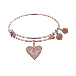 Brass with Pink Finish Blue Enamel Baby Foot Print Charm for Angelica Bangle