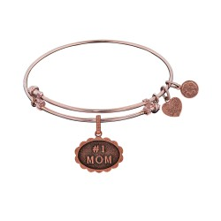 Brass with Pink Finish #1 Mom Charm For Angelica Bangle