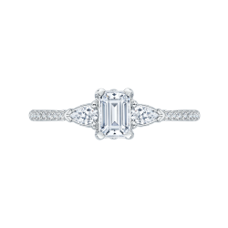 White Gold Emerald Cut and Pear Engagement Ring