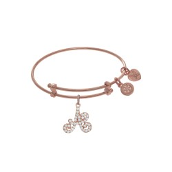 Brass with Pink Finish Charm Initial A On Pink Ang Lica Tween Bangle
