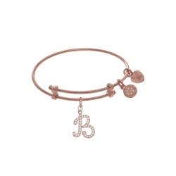 Brass with Pink Finish Charm Initial B On Pink Ang Elica Tween Bangle