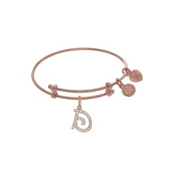 Brass with Pink Finish Charm Initial D On Pink Ang Elica Tween Bangle