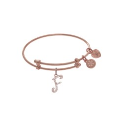 Brass with Pink Finish Charm Initial F On Pink Ang Elica Tween Bangle