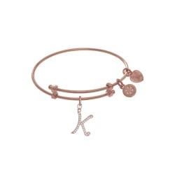 Brass with Pink Finish Charm Initial K On Pink Ang Elica Tween Bangle