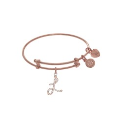 Brass with Pink Finish Charm Initial L On Pink Ang Elica Tween Bangle