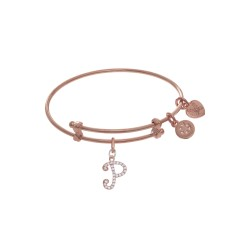 Brass with Pink Finish Charm Initial P On Pink Ang Elica Tween Bangle