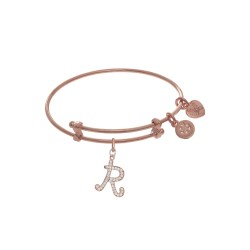 Brass with Pink Finish Charm Initial R On Pink Ang Elica Tween Bangle