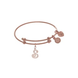 Brass with Pink Finish Charm Initial S On Pink Ang Elica Tween Bangle