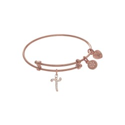 Brass with Pink Finish Charm Initial T On Pink Ang Elica Tween Bangle