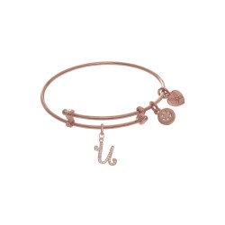 Brass with Pink Finish Charm Initial U On Pink Ang Elica Tween Bangle