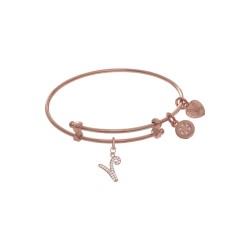 Brass with Pink Finish Charm Initial V On Pink Ang Elica Tween Bangle