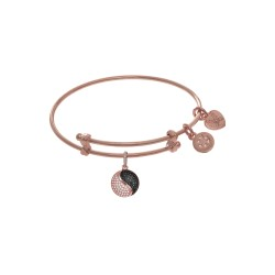 Brass with Pink Yin Yang Charm On Pink Angelica Tween Bangle