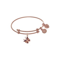 Pink Finish Expandable Tween Brass Bangle with Ena Mel Butterfly Charm In Pink Finish