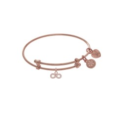 Brass with Pink Finish Infinity with Cubic Zircon Ia Charm On Pink Angelica Tween Bangle