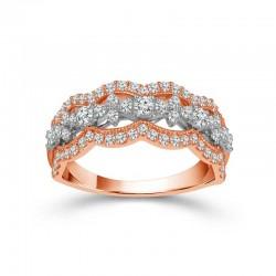 Rose and white gold fashion diamond band