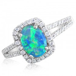 White Gold Australian Opal Ring  with a halo of diamonds