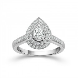 White Gold Pear Diamond Double Halo Engagement Ring 3/4ctw