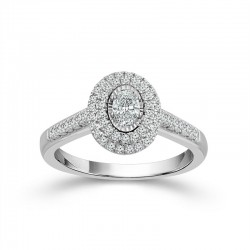 White Gold Oval Diamond Double Halo Engagement Ring 3/4ctw