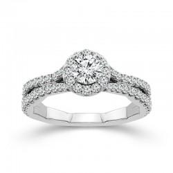 White Gold Round Diamond Halo Engagement Ring 1.00ctw