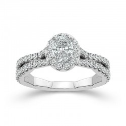 White Gold Oval Diamond Halo Engagement Ring 1.00ctw