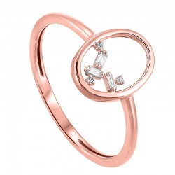 14K Rose Scattered Bagg Dia Ring  .03Ctw