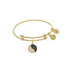 Brass with Yellow Yin Yang Charm On Yellow Angelic A Tween Bangle