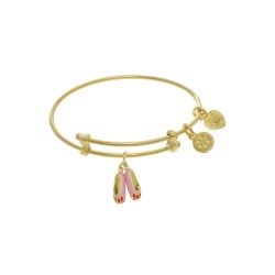 Brass with Yellow Balerina Shoe Charm On Yellow An Gelica Bangle