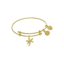 Yellow Finish Expandable Tween Brass Bangle with D Ragonfly Charm with Cubic Zirconia In Yellow Finis H