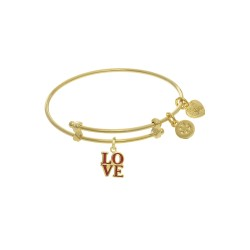 Yellow Finish Expandable Tween Brass Bangle with L Ove Charm In Yellow Finish