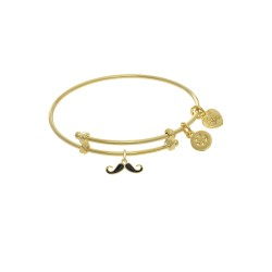 Brass with Yellow Finish Enamel Mustache Charm On Yellow Angelica Tween Bangle