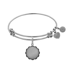 Brass White Finish Personalize Engravable Charm On White Angelica Bangle