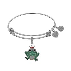 Brass White Finish Frog Charm On White Angelica Bangle