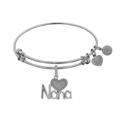 Brass White Finish Nana Charm On White Angelica Bangle