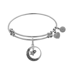 Brass White Finish Love You To Moon & Back Charm On White Angelica Bangle
