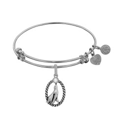 Brass White Finish Seal W/ Cz Charm On White Angelica Bangle