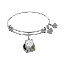 Brass White Finish Panda Charm On White Angelica Bangle