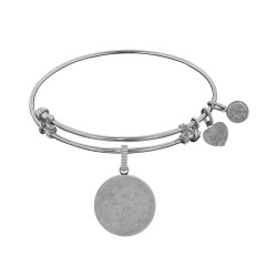 Brass White Finish Round Personalize Engravable Charm On White Angelica Bangle