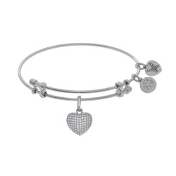 Brass with White Heart Charm with White Cz On Whit E Bangle