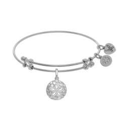 Brass with White Sanddollar Charm with White Cz On White Bangle